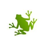 Siluetta della rana verde Fotografie Stock