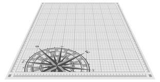 Siluetta della rosa dei venti sopra il fondo del modello illustrazione di stock