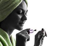 Siluetta della spazzola della mascara e della donna Fotografia Stock Libera da Diritti