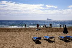 Siluetta della spiaggia, Benidorm, Spagna Fotografie Stock Libere da Diritti
