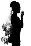 Siluetta della sposa della ragazza. Immagine Stock