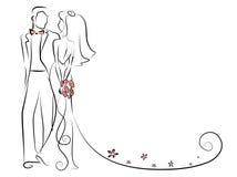 Siluetta della sposa e dello sposo, fondo Immagini Stock Libere da Diritti