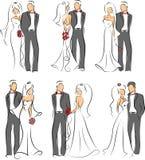 Siluetta della sposa e dello sposo, fondo Fotografia Stock