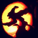 Siluetta della strega di Halloween Fotografie Stock