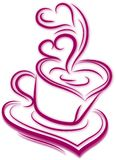 Siluetta della tazza di caffè con vapore su bianco Archivio di vettore di forma del cuore immagine stock