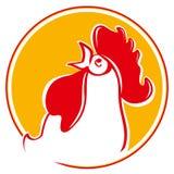 Siluetta della testa del gallo Fotografie Stock Libere da Diritti
