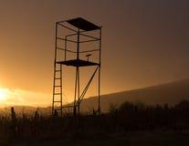 Siluetta della torre di caccia nel tramonto Fotografia Stock