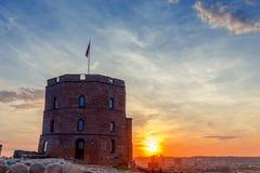 Siluetta della torre di Gediminas fotografia stock libera da diritti