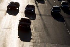 Siluetta della via delle automobili dell'ingorgo stradale Immagine Stock Libera da Diritti