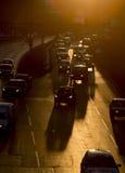 Siluetta della via delle automobili dell'ingorgo stradale Fotografia Stock Libera da Diritti