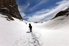 Siluetta della viandante sul plateau della neve Fotografia Stock