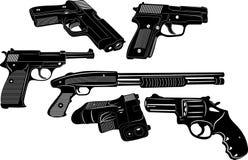 Siluetta delle armi e della pistola Immagine Stock