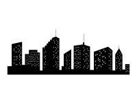 Siluetta delle città di vettore Icona nera della città su fondo bianco Immagine Stock Libera da Diritti