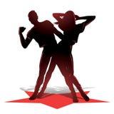 Siluetta delle coppie di dancing Immagini Stock