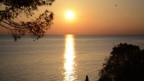 Siluetta delle coppie romantiche nell'amore al tramonto al mare Ragazzo e ragazza che godono al tramonto e che prendono selfie co video d archivio