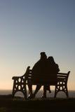 Siluetta delle coppie sul banco Fotografia Stock Libera da Diritti