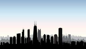 Siluetta delle costruzioni della città di Chicago Paesaggio urbano di U.S.A. Paesaggio urbano americano Fotografie Stock Libere da Diritti
