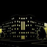 Siluetta delle costruzioni e delle vie alla notte Immagine Stock Libera da Diritti