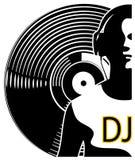 Siluetta delle cuffie d'uso del DJ Fotografia Stock