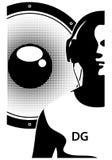 Siluetta delle cuffie d'uso del DJ Immagini Stock Libere da Diritti