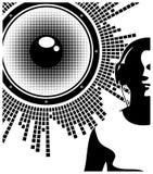 Siluetta delle cuffie d'uso del DJ Fotografia Stock Libera da Diritti