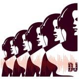 Siluetta delle cuffie d'uso del DJ Immagine Stock Libera da Diritti