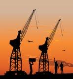 Siluetta delle gru del porto Immagine Stock