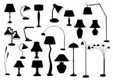 Siluetta delle lampade Fotografia Stock