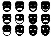Siluetta delle maschere Immagini Stock Libere da Diritti