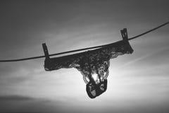 Siluetta delle mutandine su un cavo Fotografie Stock Libere da Diritti