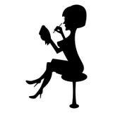 Siluetta delle note di una scrittura della donna Immagini Stock