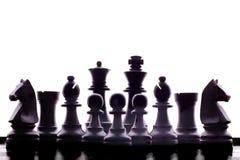 Siluetta delle parti di scacchi immagine stock