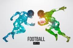 Siluetta delle particelle, delle linee e dei triangoli di un giocatore di football americano su fondo rugby Illustrazione di vett illustrazione di stock