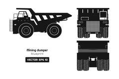 Siluetta dello scaricatore estraente su fondo bianco Indietro, lato e vista frontale Immagine del camion pesante Disegno industri illustrazione di stock