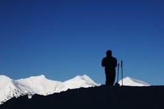Siluetta dello sciatore Fotografia Stock Libera da Diritti