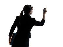 Siluetta dello spazio della copia di scrittura della donna di affari Fotografie Stock Libere da Diritti
