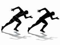 Siluetta dello sprinter, tiraggio di vettore Immagini Stock