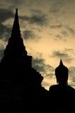 Siluetta dello staue del buddha Fotografie Stock