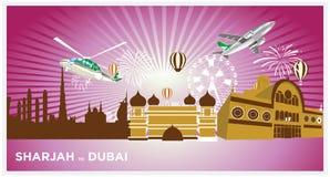 Siluetta dettagliata del Dubai, Sharjah Emirati Arabi Uniti Illustrazione d'avanguardia di vettore, Fotografia Stock