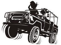 Siluetta dettagliata della jeep di vettore Fotografie Stock