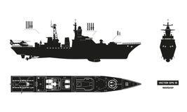 Siluetta dettagliata della nave dei militari Vista laterale anteriore e della cima, Modello della nave da guerra Nave da guerra n illustrazione di stock