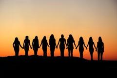 Siluetta di amicizia della donna. Fotografie Stock Libere da Diritti