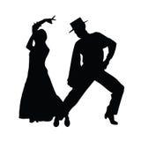 Siluetta di arte di vettore di ballo delle coppie Fotografia Stock