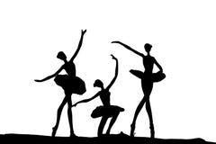 Siluetta di ballo di balletto Fotografie Stock