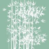 Siluetta di bambù e degli uccelli Fotografia Stock Libera da Diritti