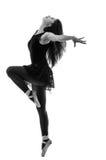 Siluetta di bello ballerino di balletto femminile Fotografia Stock