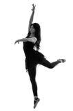 Siluetta di bello ballerino di balletto femminile Fotografie Stock