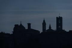 Siluetta di Bergamo alta Immagini Stock Libere da Diritti