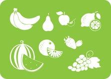 Siluetta di bianco della frutta Fotografia Stock