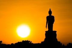 Siluetta di Buddha Fotografia Stock